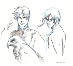 A concept sketch of Heyou (right) courtesy of Anne Cain, artist of the Sylph series covers.